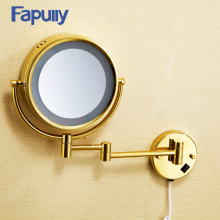 Fapully Luxury Decorative Wall Mirror Round Makeup Mirror Gold Led Mirror