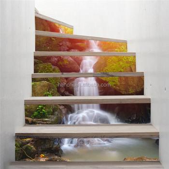 Forêt Chutes D\'eau Décoratif Escalier Décor Autocollants Bricolage ...