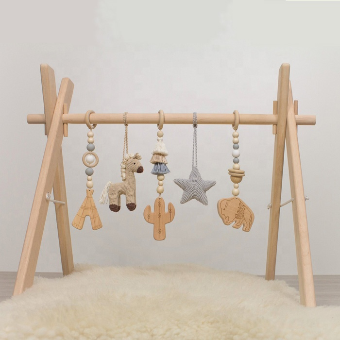Activity Wood Baby Play Gym Toys Play Mat With Hanging Crochet Dolls