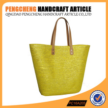 Beautiful yellow beach bags pp handle paper straw material women shopping handbag