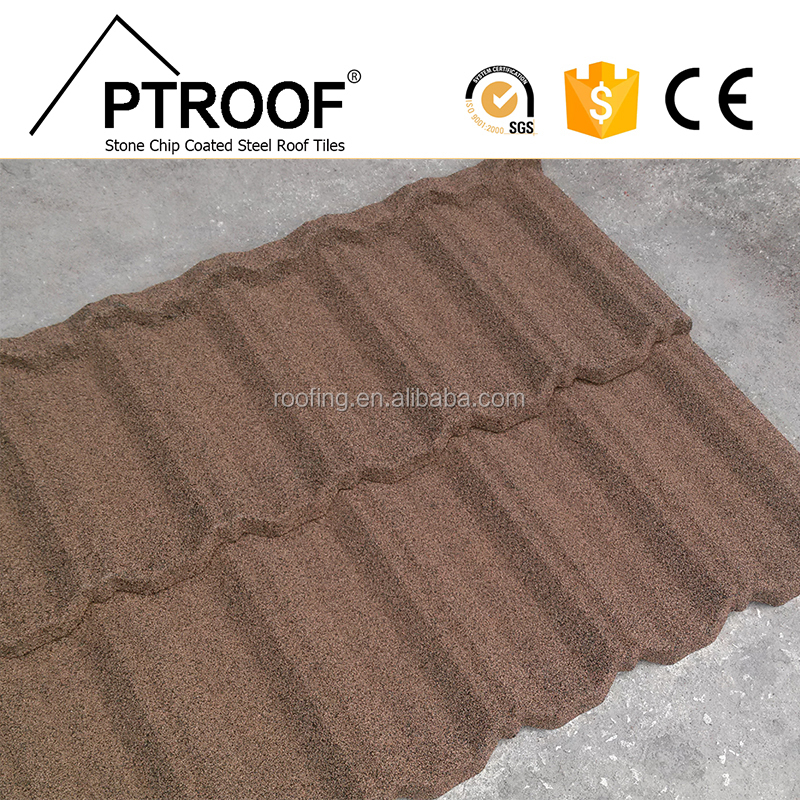 Stone galvanized Material photovoltaic solar roof tile 50 years Warranty sand coated steel roof tile