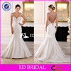 2016 Stunning High Quality Cap Sleeve Deep V-Neck Mermaid Satin Wedding Dress 2016