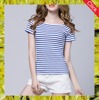 2016 wholesale high quality slim fit 100% cotton stripe t-shirts for women