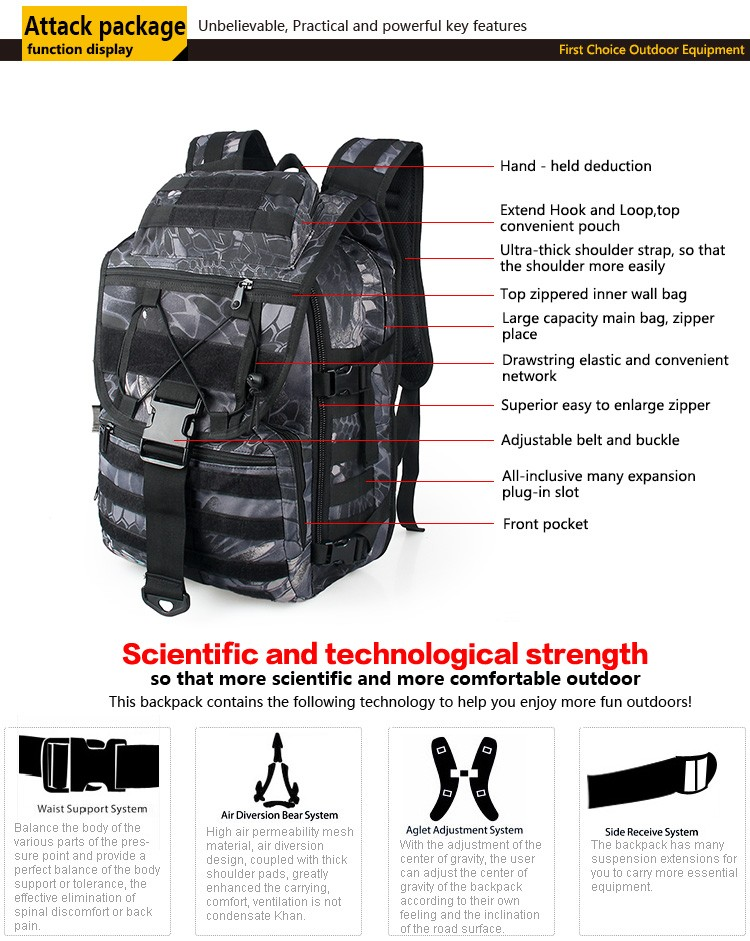 New style military tactical waterproof fabric bag, MOLLE system equipment BagCL5-0054
