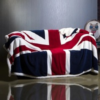 British/American Flag Office NAP Sofa Air Conditioner Sherpa Fleece Blanket