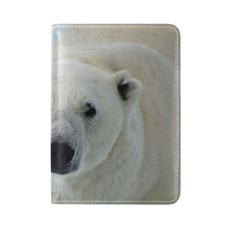 White Regular Polar Bear Leather Passport Holder Cover Case Blocking Travel Wallet