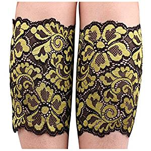 Sock - TOOGOO(R)Women Stretch Lace Boot Cuffs Flower Leg Warmers Lace Trim Soft Toppers Socks yellow