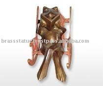 Book reading Frog bookend brass Handmade Sculpture for your office Table