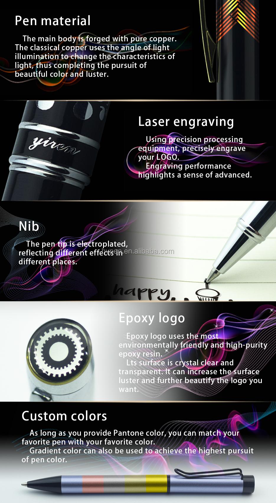 Com a marca de Caneta de Luxo Caneta Esferográfica de Metal de Borracha com Logotipo Epóxi Especial 3D para Presentes do Negócio