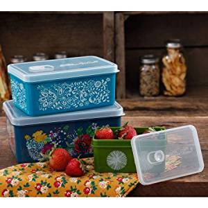 The Pioneer Woman Rectangular Food Storage with Vent Container Set, Set of 3, Country Garden by The Pioneer Woman
