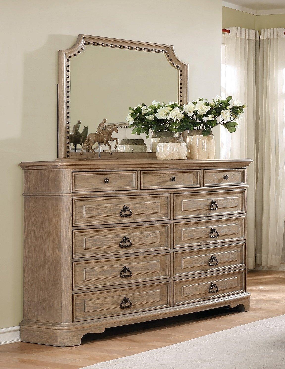 Roundhill Furniture B296DM Piraeus 296 11 Drawers White Wash Dresser and Nailhead Trim Mirror