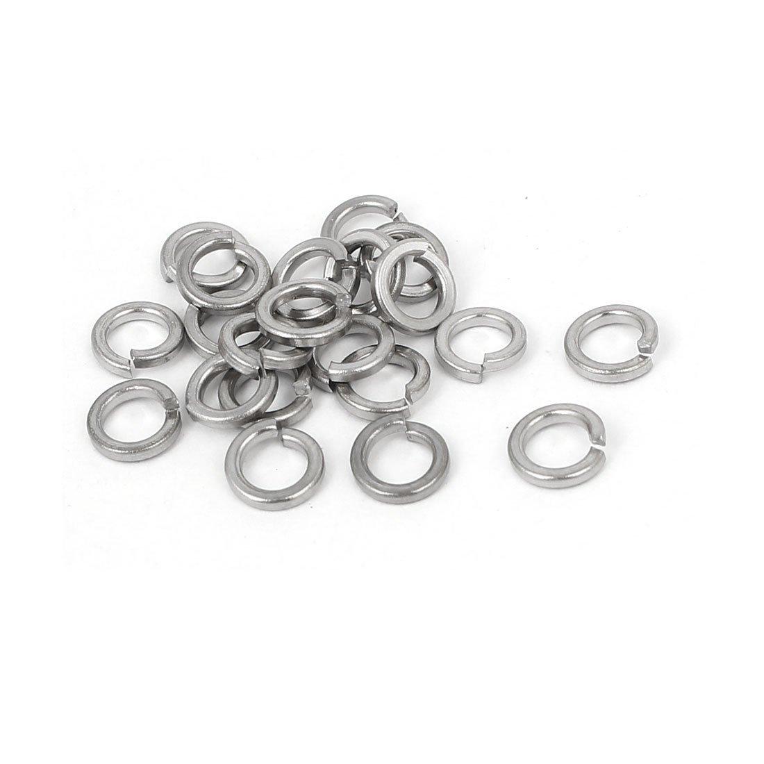 uxcell M4 Inner Diameter Split Lock Stainless Steel Spring Washer Screw Gasket 21pcs
