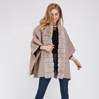 Real Cashmere Wool Poncho Rex Rabbit Fur Trimmed Cape Women Shawls Coat