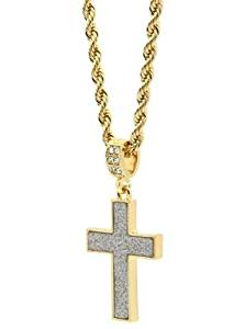 "Mens 14k Gold Plated Stardust Plain Cross Thick Pendant Hip-Hop 24"" Rope Chain"