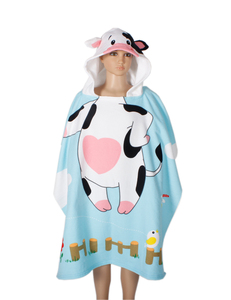 2018 Microfiber promotion colorful cute cow children poncho baby hooded towel for family gift