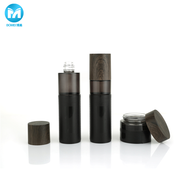 Black Lotion Bottle with Pump Glass Jar Bamboo Cap Cosmetic Glass Container for Skincare Cream
