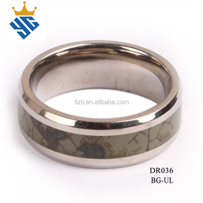 Cool colorful paper inlay stainless steel finger rings for men