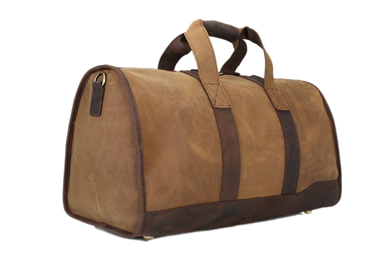 ROCKCOW Super Large Men Genuine Leather Duffle Bag Travelling Bag Weekend Bag Holdall
