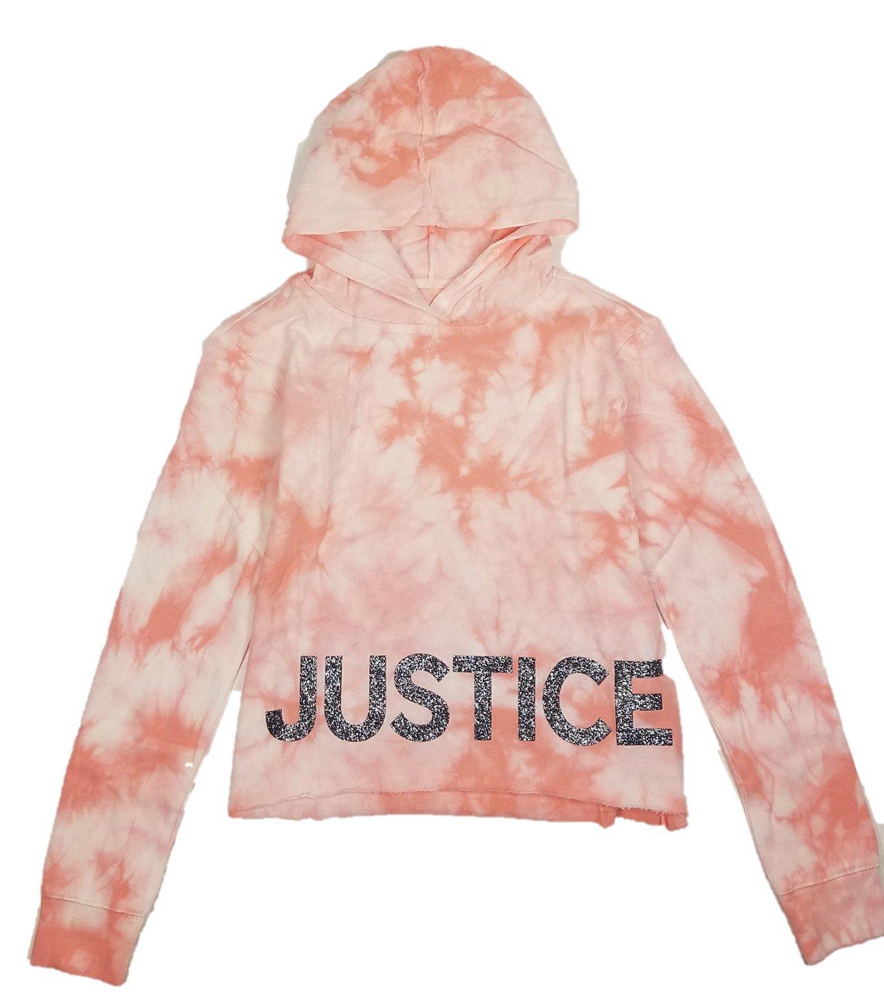 f401884bea65f2 Get Quotations · Justice Girls Hoodie Sweatshirt Raw Hem Glitter Logo  Cloudy Tie-Dye