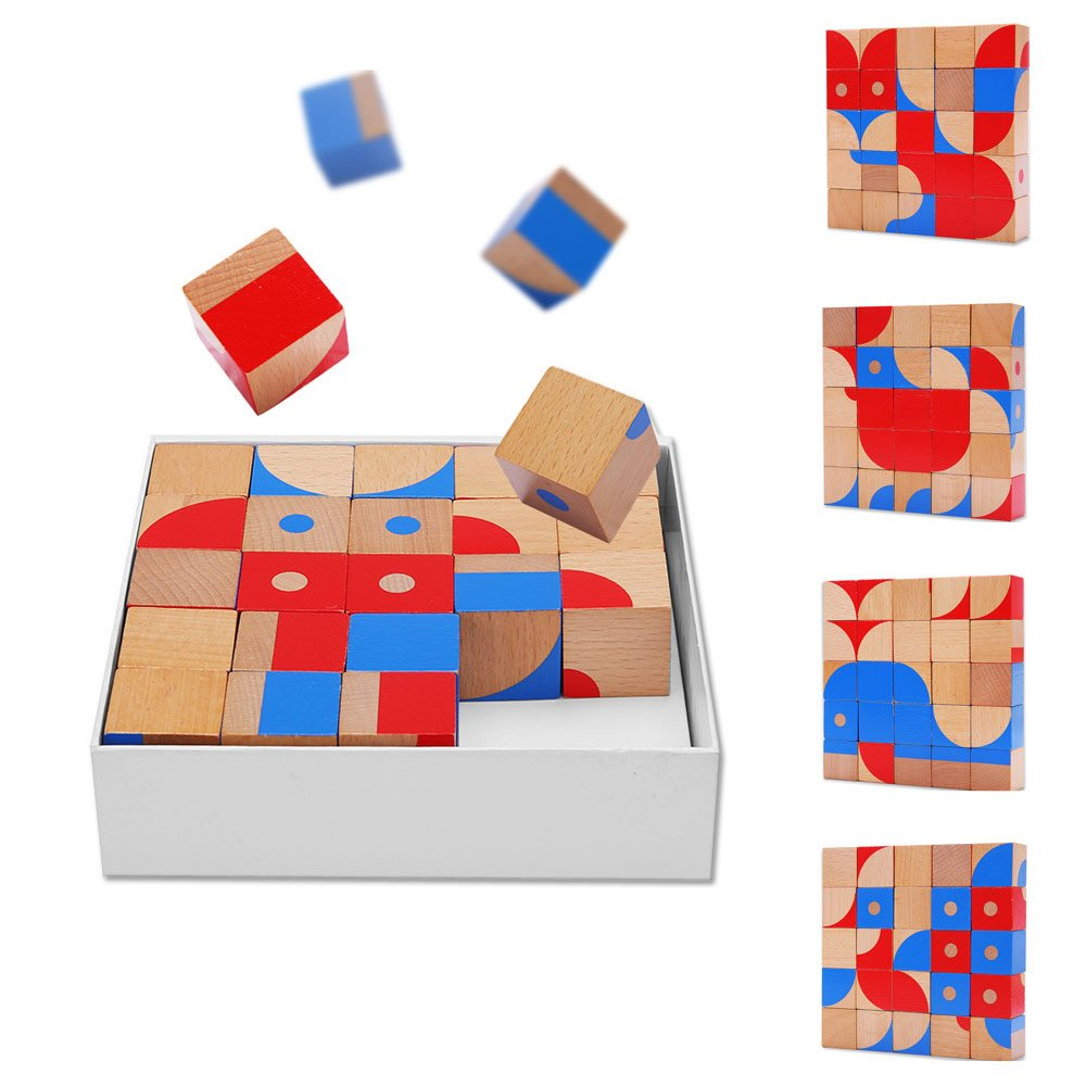 Wooden Cube Puzzle Blocks - BENHO Red&Blue 25 Pieces Color Bricks Kids Educational Pattern Blocks Puzzles for Children's Learning