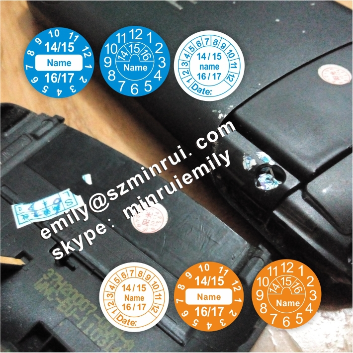 Custom round 15mm breakable tamper proof screw labels for cell phones or any warranty seal use with logo or company name