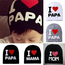 Fashion Baby Newborn Toddler Infant I Love PAPA MAMA Caps Unisex Elastic Hats New Kids Boy
