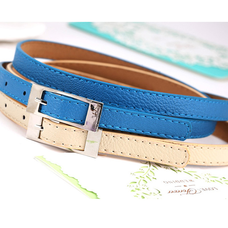 Candy-Colored Korean PU Leather Belts For Women's Crony decoration Thin Waist Belts S240