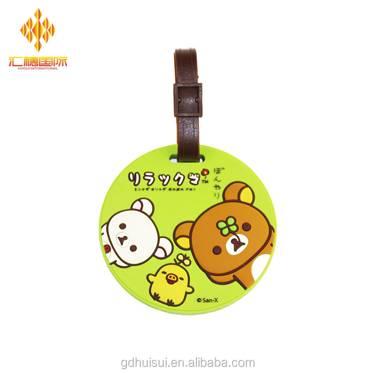 New items of goods in 2017 round shaped customized logo custom made soft pvc rubber travel luggage tag