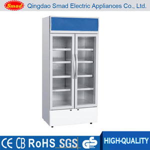 supermarket Transparent Glass Door Upright meat refrigerator showcase
