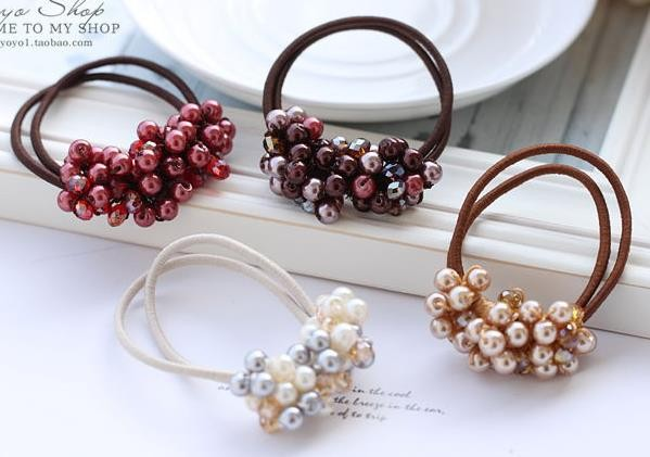 fancy elegant covered grass beads goody Ponytail Holders hair accessories 0c673bf81f1