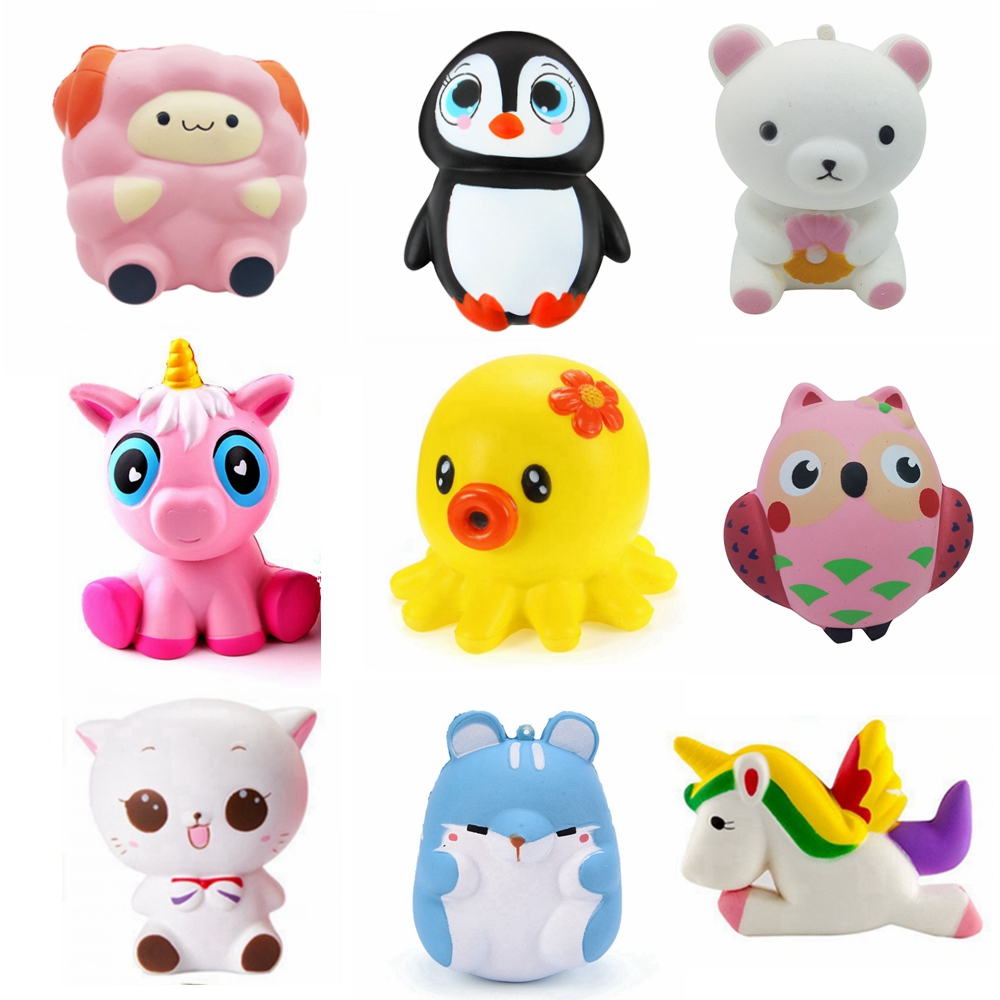 New Arrival Stress Squishy Squeeze Toy Custom Scented Pu Cute Penguin Bear Unicorn Squishy Slow ...