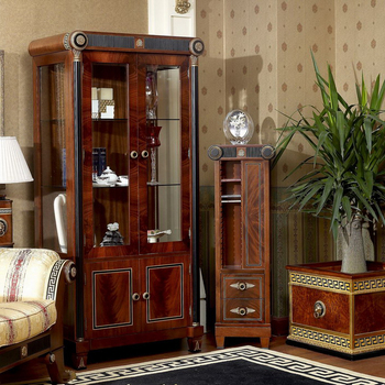 YB10 Baroque Classic Living Room Display Cabinet European Antique Mahogany  Wooden Decorative Wine Display Cabinet Showcase