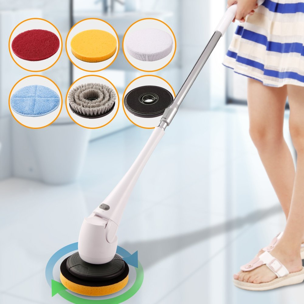 COOCHEER Spin Scrubber-Cordless Telescopic Power Tub and Tile Scrubber Cleaner for for Bath Toilet Floor Wall Window Car Surface Cleaning- No Bending-With 5 Interchangeable Brushes (Upgrade, White)