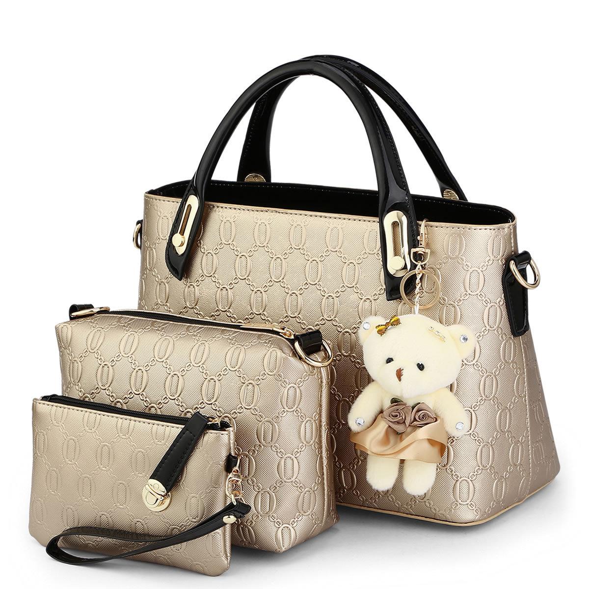 3 bags/set W/bear toy casual Embossed designer Fashion handbags high quality women messenger bags American Style shoulder bag Q5
