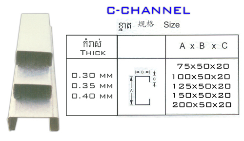 Iso And Sgs Certification Prime Quality Hot Sale C Channel Sizes ...