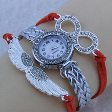 8 Letter Wing Bracelet Watch Women Rhinestone Leather Strap Quartz Wristwatches