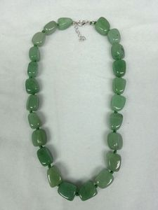 Aventurine Rose Quartz Tumbled abt 15mm/pc with knot + silver color brass clasp 45cm Necklace
