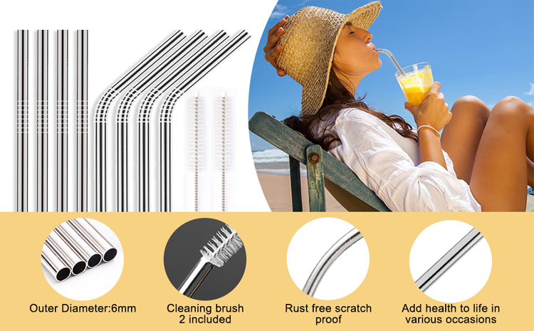 215x6mm Eco Friendly Food Grade Reusable Stainless Steel Metal Drinking Straws