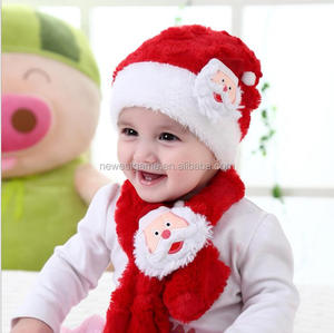b2cc9632aad Winter hot style warm baby Christmas hat Christmas plush children hat scarf  creative two-piece custom-made hat
