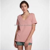 Summer ladies cotton short sleeves high quality pure color v collar T-shirt simple fashion design