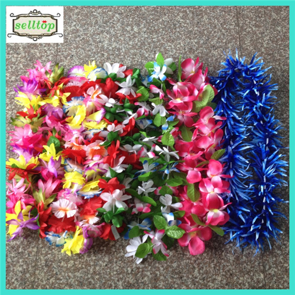 115cm-130cm 30-42 pairs flowers silk hawaiian lei