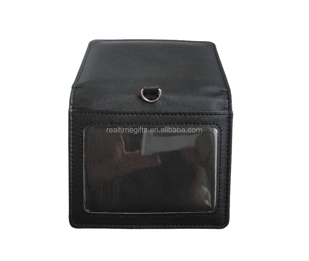 Classic Bifold black pu faux leather hanging badge holder with clear window