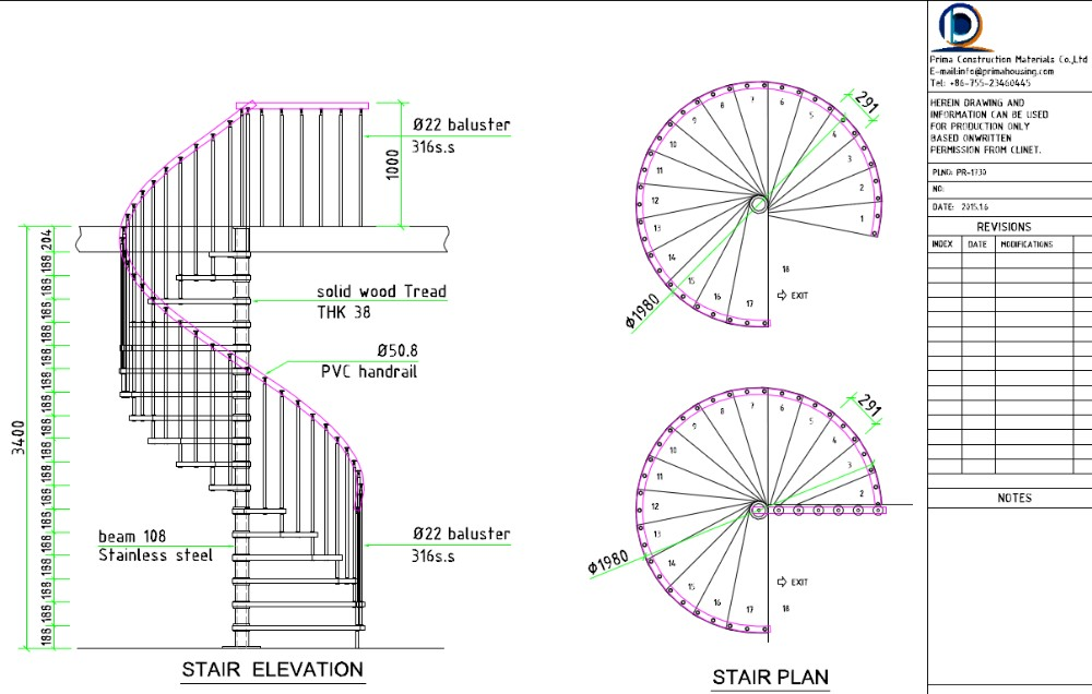 Stainless steel stairs grill designs used for indoor for Spiral staircase plans free