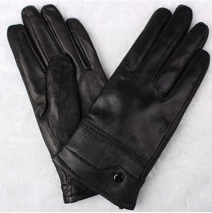 Mens Fashion Button Classic Soft Sheepskin Thin Running Leather Gloves