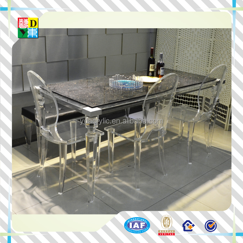 top qualit transparent acrylique table manger et 6 chaises effacer plexiglas v nement table. Black Bedroom Furniture Sets. Home Design Ideas