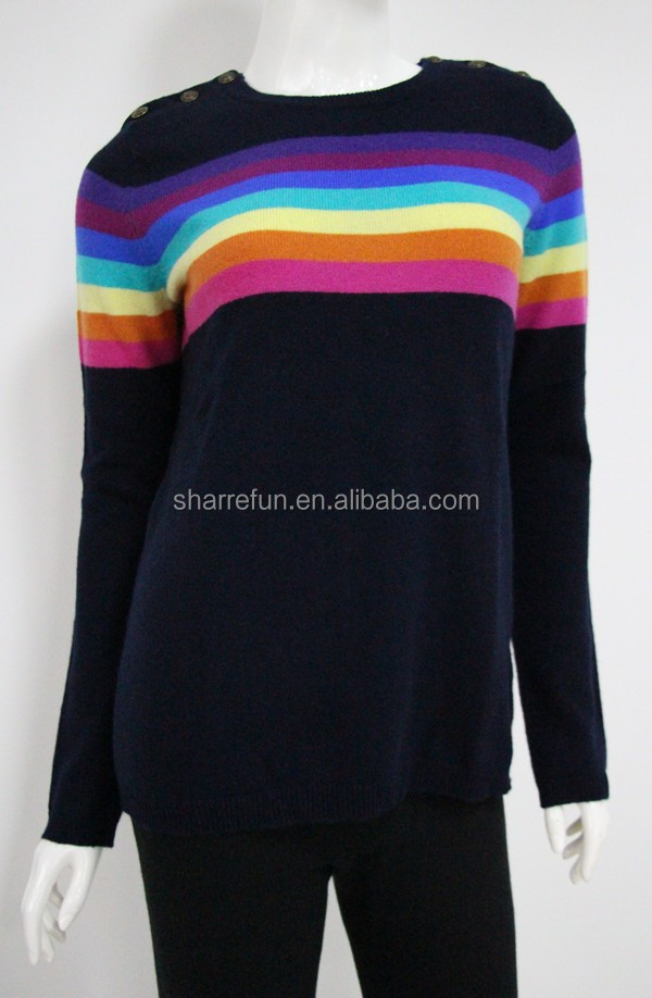 slim-fit 12gg knitted ladies pure cashmere striped sweater