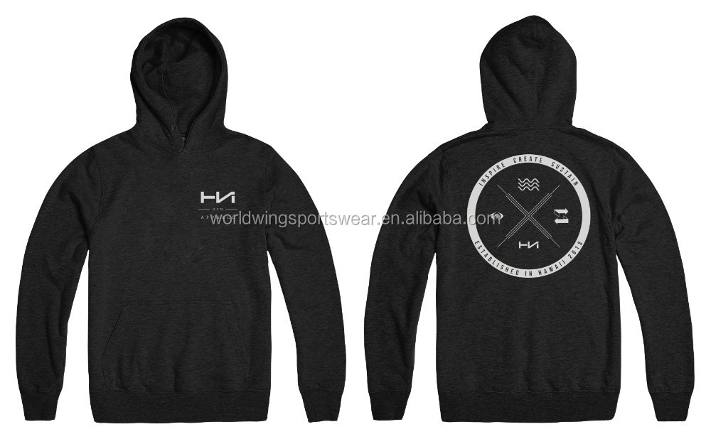 Mens polycotton fleece heather black with printed logo on front left chest and back fashion sports hoodie