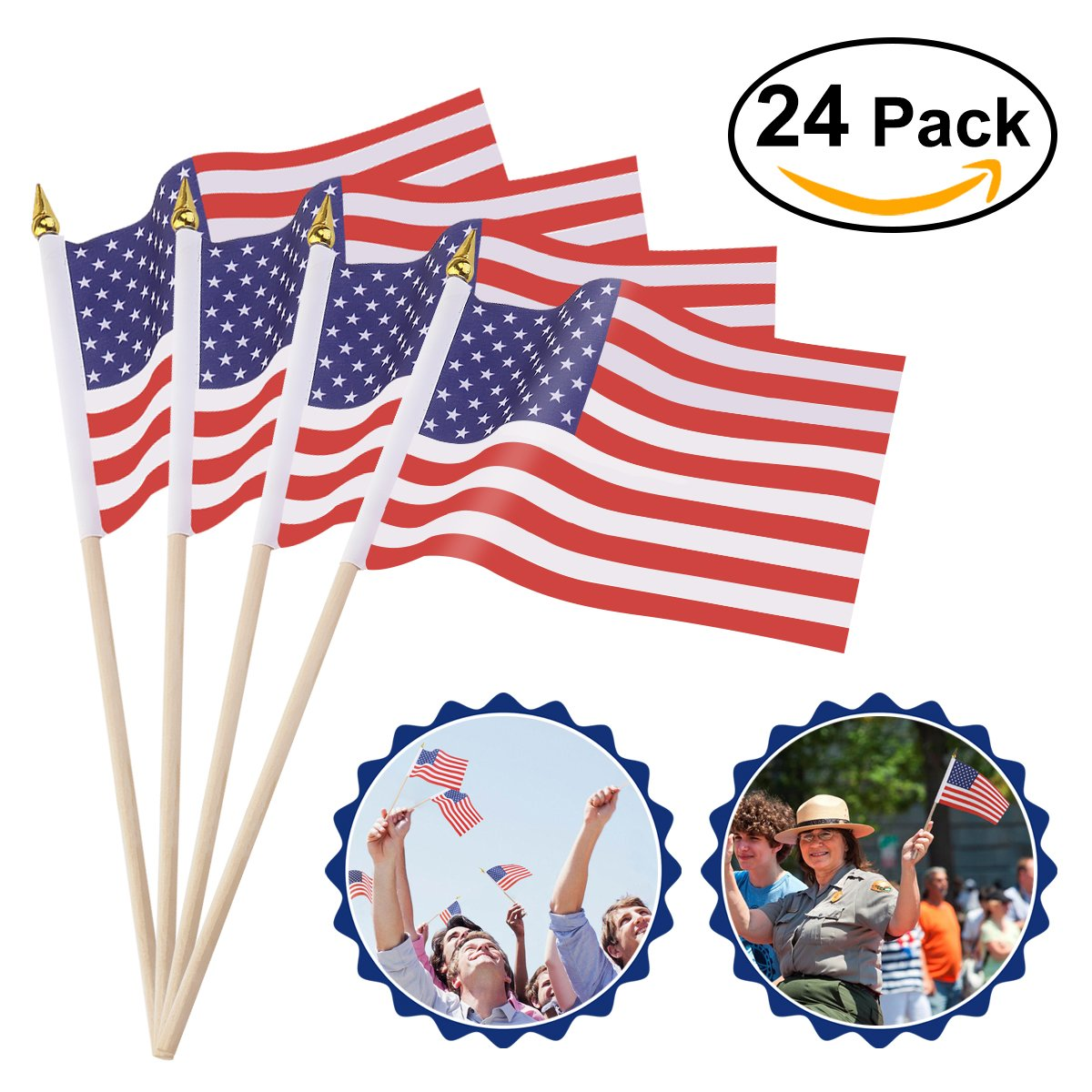"""OULII 24 Pack Mini American Flags Hand Held Mini US Flags on Stick with Gold-Capped 4"""" x 6"""""""