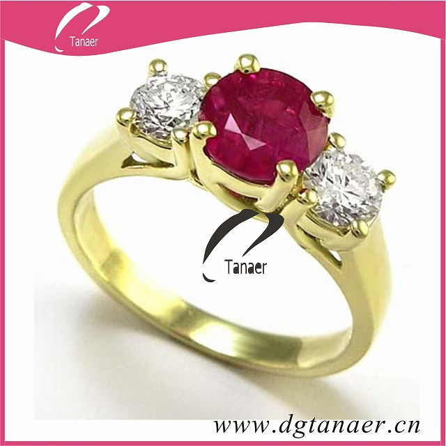 fashion gold rings and ruby for girl