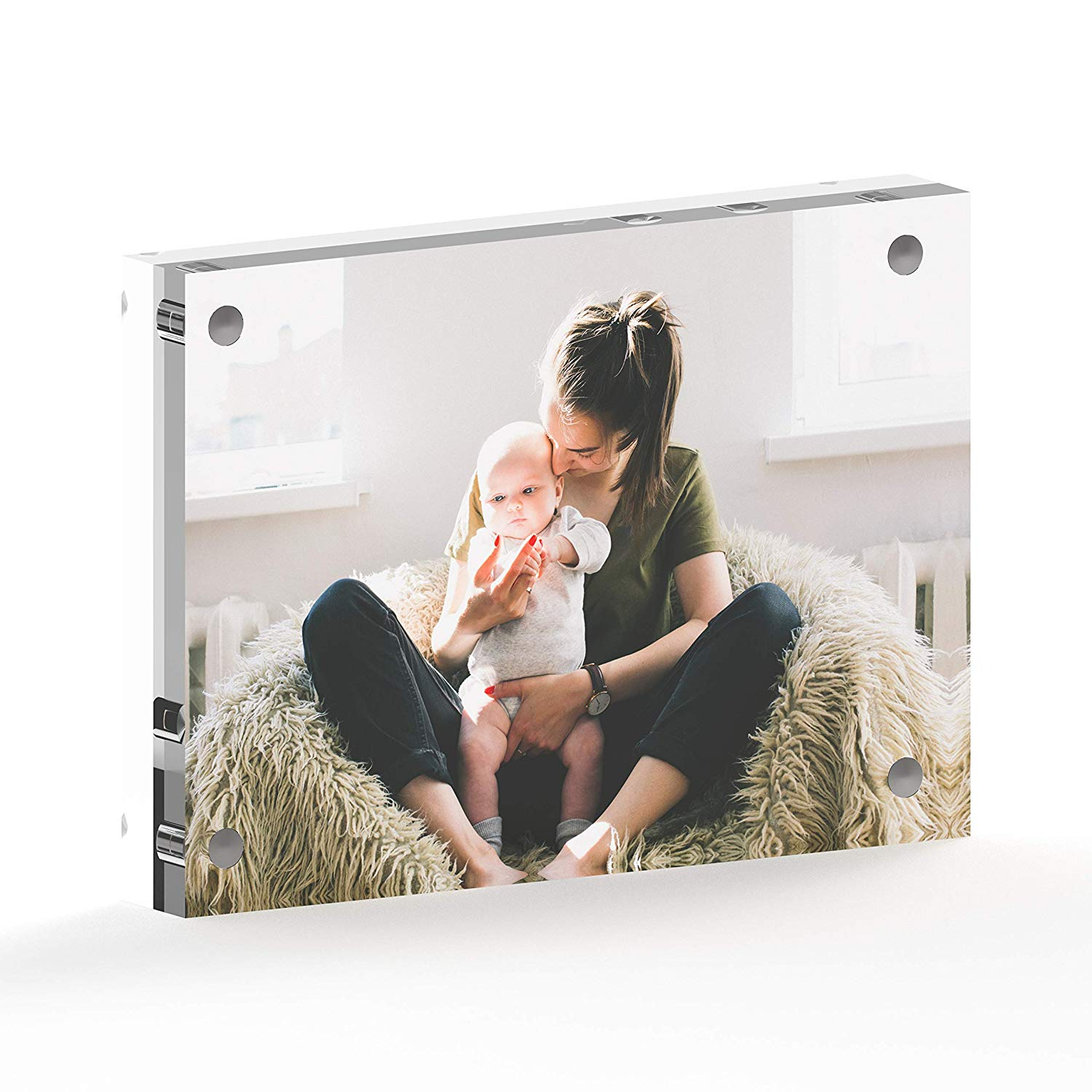 Mammoth AAA Grade Acrylic Picture Frame, Contemporary Double Thick (24mm) Design, Double Sided Acrylic Photo Frames Frameless Desktop Display with Gift Box Package (5x7-1 Pack)